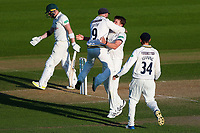 Picture by Alex Whitehead/SWpix.com - 22/04/2018 - Cricket - Specsavers County Championship Div One - Yorkshire v Nottinghamshire, Day 3 - Emerald Headingley Stadium, Leeds, England - Yorkshire's Josh Shaw celebrates with team-mates after taking the wicket of Notts' Riki Wessels.