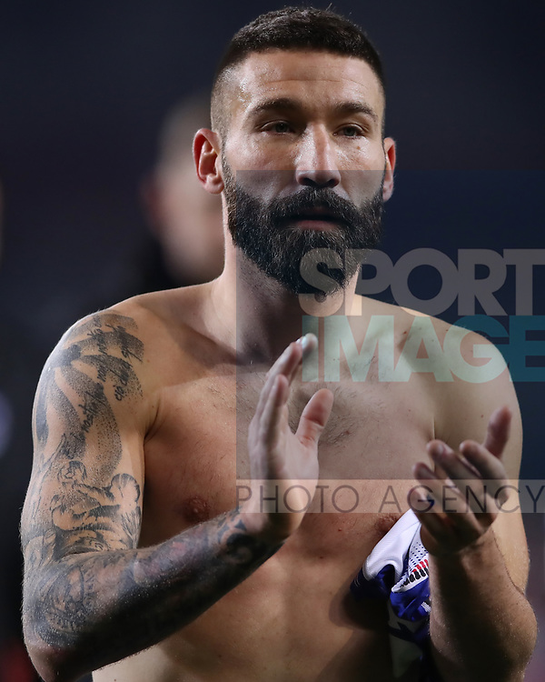 Lorenzo Tonelli of Sampdoria salutes the fans after the final whistle of the Serie A match at Stadio Grande Torino, Turin. Picture date: 8th February 2020. Picture credit should read: Jonathan Moscrop/Sportimage