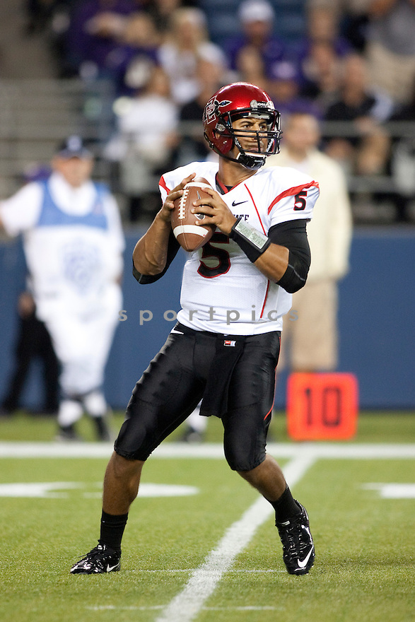 San Diego State Aztecs Ryan Katz (5) in action during a game against the Washington Huskies on September 1, 2012 at Qualcomm Stadium in Seattle, WA. Washington beat SDSU 21-12.