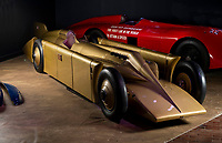 BNPS.co.uk (01202 558833)<br /> Pic: PhilYeomans/BNPS<br /> <br /> Golden shot in the arm - Beautiful record breaker Golden Arrow is to receive new funding 90 years after smashing the Land speed record for Britain.<br /> <br /> The National Motor Museum at Beaulieu has been awarded £75,000 by Arts Council England to allow fresh research into the historic machine and the collections relating to it, as well as some conservation work on particularly fragile items.  <br /> <br /> The distinctive 1929 Golden Arrow was a wonder of its time, a harmonious blend of technology and design, produced a masterpiece of Art Deco expression which paved the way for two decades of unbroken British world record-breaking success.<br /> <br /> With Major Henry Segrave in the driving seat,  the arrow shattered its target and set a new Land Speed Record of 231.36mph at Daytona Beach in Florida in March 1929.