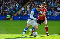 Sheffield Wednesday's forward Gary Hooper (14) takes on Barnsley's midfielder Joe Williams (4) at the edge of the area during the Sky Bet Championship match between Sheff Wednesday and Barnsley at Hillsborough, Sheffield, England on 28 October 2017. Photo by Stephen Buckley / PRiME Media Images.