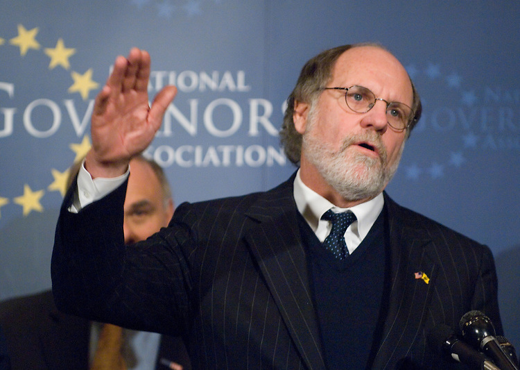 Gov. Jon Corzine, D-N.J., participates in a news conference with other governors following their visit to the White House to speak with President Bush on Monday, Feb. 26, 2007.