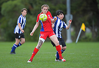 Action from the 2019 Grant Jarvis NZ Secondary Schools Girls' 1st XI tournament match between Havelock North High School and Bethlehem College at Memorial Park in Petone, New Zealand on Wednesday, 4 September 2018. Photo: Dave Lintott / lintottphoto.co.nz