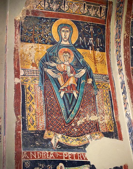 Twelfth Century Romanesque fresco of the Madonna and Child from the church of Santa Maria de Taull, La Vall de Boi, Alta Ribagorca, Spain. National Art Museum of Catalonia, Barcelona. MNAC 3915