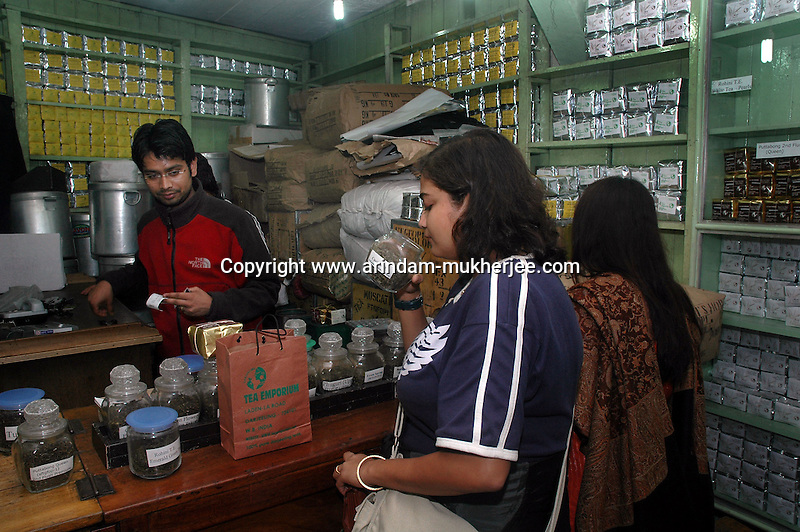 INDIA (West Bengal - Darjeeling) June 2007, Customers at Tea Emporium one of the oldest Tea exporters in Darjeeling. Darjeeling produces the best quality black tea in the world. Arindam Mukherjee