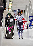 8 January 2016: Carina Mair, competing for Austria, completes her second run of the BMW IBSF World Cup Skeleton race with a combined 2-run time of 1:53.47, earning a 19th place finish for the day at the Olympic Sports Track in Lake Placid, New York, USA. Mandatory Credit: Ed Wolfstein Photo *** RAW (NEF) Image File Available ***