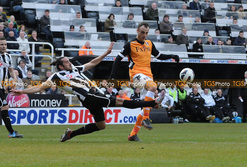 Newcastle United's Jonás Gutiérrez tackles Dimitar Berbatov of Fulham - Newcastle United vs Fulham - Barclays Premier League Football at St James Park, Newcastle upon Tyne - 07/04/13 - MANDATORY CREDIT: Steven White/TGSPHOTO - Self billing applies where appropriate - 0845 094 6026 - contact@tgsphoto.co.uk - NO UNPAID USE