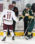 Scott Hansen, Pat Mullane (BC - 11), H.T. Lenz (UVM - 11) - The Boston College Eagles defeated the University of Vermont Catamounts 4-1 on Friday, February 1, 2013, at Kelley Rink in Conte Forum in Chestnut Hill, Massachusetts.
