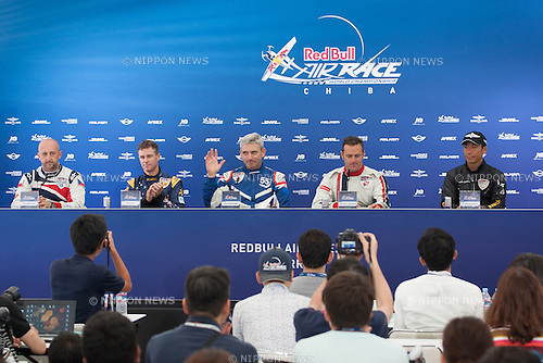 Pilots, Petr Kopfstein, Matt Hall, Paul Bonhomme, Matthias Dolderer, Yoshihide, Muroya at the 2015 Red Bull Air Race on May 17th, 2015 in Chiba, Japan.<br /> This is the first time the Red Bull Air Race has been held in Japan and some 120,000 spectators attended the the race weekend. (Photo by Michael Steinebach/Aflo)