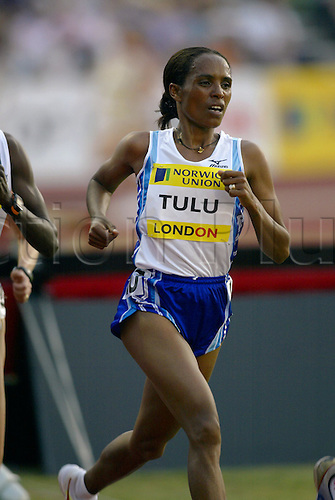 August 08, 2003: DERARTU TULU (ETH) running in the Women's 5000m. Norwich Union London Grand Prix, Crystal Palace. Photo: Glyn Kirk/Action Plus...Athletics track and field 030808 woman distance runner running