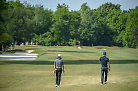 Tommy Fleetwood (ENG) and Chris Paisley (ENG) head down 1 during Round 3 of the Zurich Classic of New Orl, TPC Louisiana, Avondale, Louisiana, USA. 4/28/2018.<br /> Picture: Golffile | Ken Murray<br /> <br /> <br /> All photo usage must carry mandatory copyright credit (&copy; Golffile | Ken Murray)