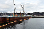 March 4, 2016, Miyako City, Japan - Boring survey gets under way to erect a 14-meter-tall sea wall near Tarou fishing port in Miyako City, Iwate prefecture, northeastern Japan on Friday, March 4, 2016. On March 11, Japan marks the five-year anniversary of the devastating earthquake and tsunami that struck the northeastern region of the country and left more than 18,000 people dead or missing.  (Photo by Natsuki Sakai/AFLO) AYF -mis-