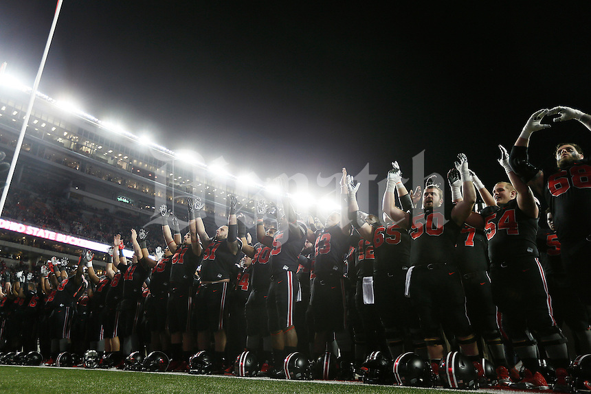 "The Ohio State Buckeyes line up to sing their alma mater ""Carmen Ohio"" after the college football game between the Ohio State Buckeyes and the Penn State Nittany Lions at Ohio Stadium in Columbus, Saturday evening, October 17, 2015. The Ohio State Buckeyes defeated the Penn State Nittany Lions 38 - 10. (The Columbus Dispatch / Eamon Queeney)"
