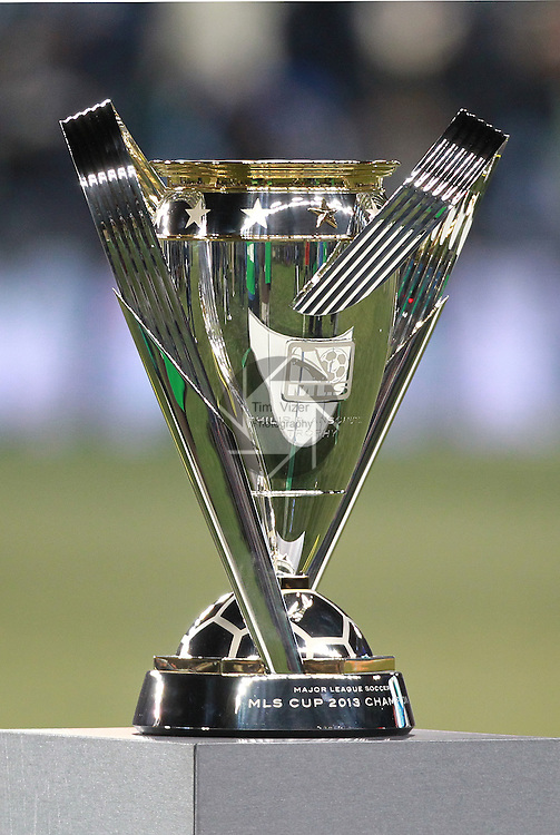The MLS Cup trophy. Sporting KC defeated Real Salt Lake in a shootout after the score was tied 1-1 at the end of regulation play in the MLS Cup 2013 championship held at Sporting Park in Kansas City, Kansas on Saturday December 7, 2013.