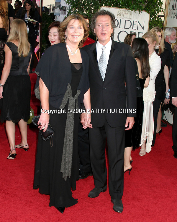 ©2005 KATHY HUTCHINS/HUTCHINS PHOTO.62nd GOLDEN GLOBES.BEVERLY HILTON HOTEL.BEVERLY HILLS, CA.JANUARY 16, 2005..GEOFFREY RUSH AND WIFE