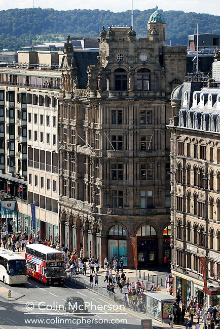 Edinburgh's Jenners department store on Princes Street, as seen from the roof of the Capital's Balmoral Hotel.