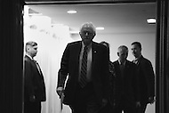 Washington, DC - May 1, 2016: Sen. Bernie Sanders enters the room at the National Press Club in the District of Columbia, May 1, 2016, to outline his remaining campaign strategy as he trails former Secretary of State Hillary Clinton in the delegate count in the 2016 presidential race.  (Photo by Don Baxter/Media Images International)