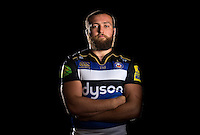 Tom Dunn poses for a portrait in the 2015/16 home kit during a Bath Rugby photocall on September 8, 2015 at Farleigh House in Bath, England. Photo by: Patrick Khachfe / Onside Images