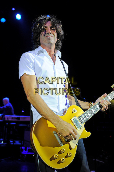 Stef Burns<br /> Huey Lewis and The News performing in concert, Shepherd's Bush Empire, London, England. <br /> 1st October 2013<br /> on stage live gig performance music half length white shirt guitar <br /> CAP/MAR<br /> &copy; Martin Harris/Capital Pictures