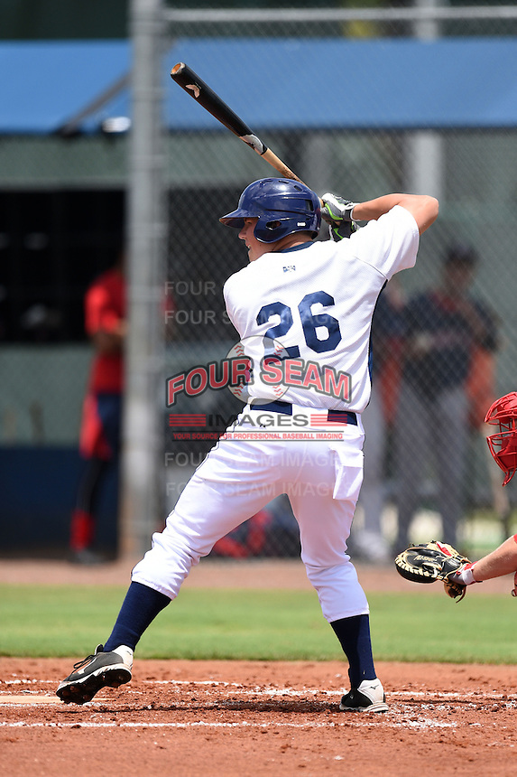 GCL Rays outfielder Christian Knott (26) at bat during a game against the GCL Red Sox on June 24, 2014 at Charlotte Sports Park in Port Charlotte, Florida.  GCL Red Sox defeated the GCL Rays 5-3.  (Mike Janes/Four Seam Images)