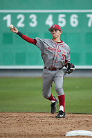 Andres Alvarez (3) of the Washington State Cougars makes a throw during a game against the Loyola Marymount Lions at Page Stadium on February 26, 2017 in Los Angeles, California. Loyola defeated Washington State, 7-4. (Larry Goren/Four Seam Images)