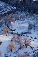 Aerial winter Public Garden, Boston, MA