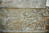 Stone relief sculptured panel of horses and soldiers from corridor 10. Facade L. Inv AO 19918 from Dur Sharrukin the palace of Assyrian king Sargon II at Khorsabad, 713-706 BC.  Louvre Museum Room 4 , Paris