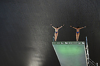Great Britain's Lois Toulson and Eden Cheng compete in the Women's 10m Synchro platform <br /> <br /> Photographer Hannah Fountain/CameraSport<br /> <br /> FINA/CNSG Diving World Series 2019 - Day 1 - Friday 17th May 2019 - London Aquatics Centre - Queen Elizabeth Olympic Park - London<br /> <br /> World Copyright © 2019 CameraSport. All rights reserved. 43 Linden Ave. Countesthorpe. Leicester. England. LE8 5PG - Tel: +44 (0) 116 277 4147 - admin@camerasport.com - www.camerasport.com