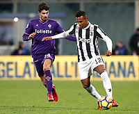 Calcio, Serie A: Fiorentina - Juventus, stadio Artemio Franchi Firenze 9 febbraio 2018.<br /> Juventus' Alex Sandro (r) in action with Fiorentina's Gil Dias (l) during the Italian Serie A football match between Fiorentina and Juventus at Florence's Artemio Franchi stadium, February 9, 2018.<br /> UPDATE IMAGES PRESS/Isabella Bonotto