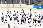 The Bulldogs celebrate their win. - The Yale University Bulldogs defeated the Air Force Academy Falcons 2-1 (OT) in their East Regional Semi-Final matchup on Friday, March 25, 2011, at Webster Bank Arena at Harbor Yard in Bridgeport, Connecticut.