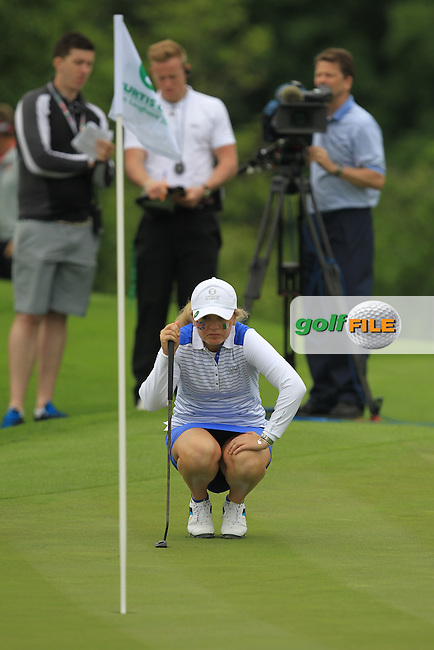 Bronte Law on the 14th green during the Friday morning Foursomes of the 2016 Curtis Cup at Dun Laoghaire Golf Club on Friday 10th June 2016.<br /> Picture:  Golffile | Thos Caffrey