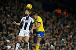 Home player Jay Rodriguez (left) and Kalvin Phillips contest a high ball during the first-half as West Bromwich Albion take on Leeds United in a SkyBet Championship fixture at the Hawthorns. Formed in 1878, the home team were relegated from the English Premier League the previous season and were aiming to close the gap on the visitors at the top of the table. Albion won the match 4-1 watched by a near-capacity crowd of 25,661.