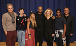 """Michael Park, Ben Levi Ross, Maia Reficco, Brandon Victor Dixon Rachel Bay Jones, Khamary Grant and Michael Greif during the press rehearsal for Kennedy Center's Broadway Center Stage production of  """"Next To Normal""""  at The New 42nd Street Studios  on January 16, 2020 in New York City."""