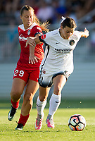 Boyds, MD. - Saturday, June 24 2017:  Hayley Raso, Meggie Dougherty Howard during a regular season National Women's Soccer League (NWSL) match between the Washington Spirit and the Portland Thorns FC at Maureen Hendricks Field, Maryland SoccerPlex.<br />  The Washington Spirit defeated the Portland Thorns FC 1-0.