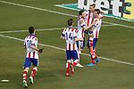 Atletico de Madrid's Arda Turan, Gabi Fernandez, Saul Niguez, Antoine Griezmann and Mario Mandzukic celebrate goal during La Liga match.February 21,2015. (ALTERPHOTOS/Acero)
