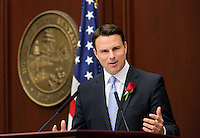 TALLAHASSEE, FLA. 3/4/14-House Speaker Will Weatherford, R-Wesley Chapel, addresses his chamber during the opening day of the legislative session, March 4, 2014 at the Capitol in Tallahassee.<br /> <br /> COLIN HACKLEY PHOTO