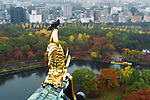Raven sitting on roof top gold decor of Osaka Castle with aerial autumn city scenery of Osaka and the Castle Park canal in the background on a misty morning in fall. Chuo-ku ward, Osaka, Japan 2017.