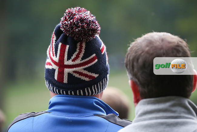 UK bobble hat on display during the Final Round of the British Masters 2015 supported by SkySports played on the Marquess Course at Woburn Golf Club, Little Brickhill, Milton Keynes, England.  11/10/2015. Picture: Golffile | David Lloyd<br /> <br /> All photos usage must carry mandatory copyright credit (&copy; Golffile | David Lloyd)