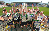 Monday 22nd April 2019 | 2019 McCrea Cup Final<br /> <br /> Grosvenor captain Andrew Kelly celebrate winning the McCrea Cup after they defeated Queens 2s in the final at Kingspan Stadium, Ravenhill Park, Belfast. Northern Ireland. Photo John Dickson/Dicksondigital