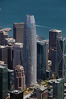 aerial photograph of the Salesforce Tower and adjacent high rise buildings, San Francisco, California