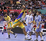 13.01.2013 Granollers, Spain. IHF men's world championship, prelimanary round. Picture show Vinicius Santos Teixeira   in action during game between Brazil vs Argentina at Palau d'esports de Granollers