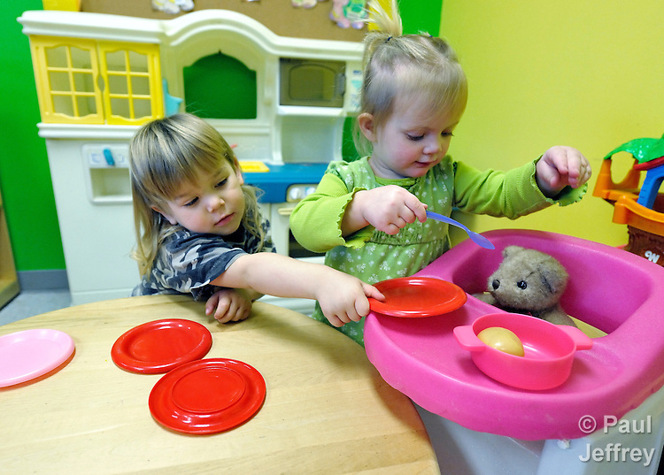 A boy and girl play together in the day care center of the Cookson Hills Center, a ministry of The United Methodist Church in Cookson, Oklahoma.