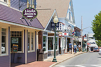 Shops and restaurants line Circuit Avenue, the main shopping district in downtown Oak Bluffs, Massachusetts on Martha's Vineyard.