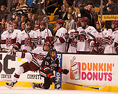 Michael Floodstrand (Harvard - 44), Lincoln Griffin (NU - 19) - The Harvard University Crimson defeated the Northeastern University Huskies 4-3 in the opening game of the 2017 Beanpot on Monday, February 6, 2017, at TD Garden in Boston, Massachusetts.