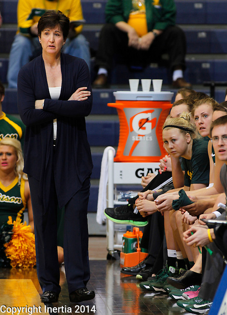 SIOUX FALLS, SD - MARCH 8:  North Dakota State Women's Basketball coach Carolyn DeHoff watches as her team plays IUPUI in their quarterfinal game at the 2014 Summit League Basketball Championships at the Sioux Falls Arena. (Photo by Ty Carlson/Inertia)