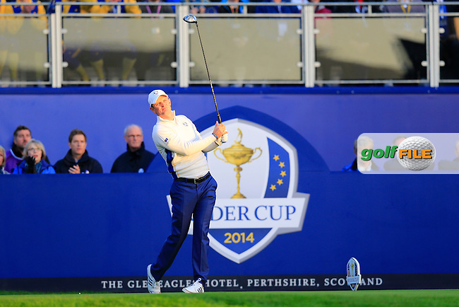 Justin Rose (EUR) during the Saturday morning Fourballs of the 2014 Ryder Cup at Gleneagles. The 40th Ryder Cup is being played over the PGA Centenary Course at The Gleneagles Hotel, Perthshire from 26th to 28th September 2014.: Picture Eoin Clarke, www.golffile.ie / www.golftouri,ages.com: \27/09/2014\