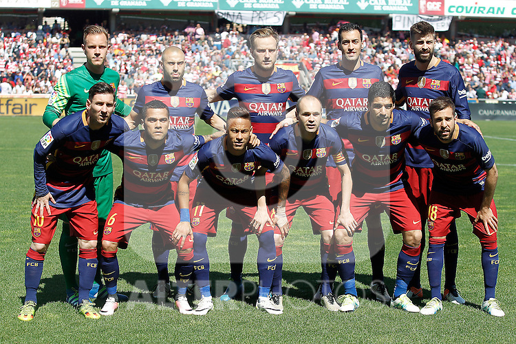 FC Barcelona's team photo with Marc-Andre Ter Stegen, Javier Mascherano, Ivan Rakitic, Sergio Busquets, Gerard Pique, Leo Messi, Daniel Alves, Neymar Santos Jr, Andres Iniesta, Luis Suarez and Jordi Alba during La Liga match. May 14,2016. (ALTERPHOTOS/Acero)