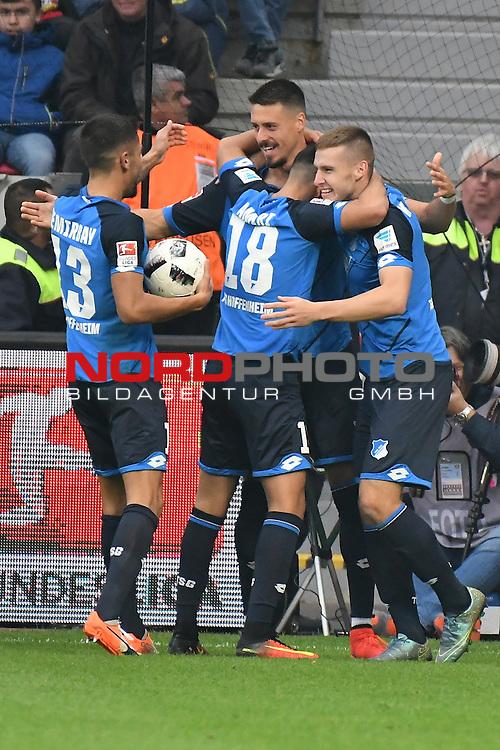 22.10.2016, BAYARENA, Leverkusen, GER, 1.FBL., Bayer 04 Leverkusen vs. TSG 1899 Hoffenheim  <br /> <br /> im Bild / picture shows: <br /> Jubel der Hoffenheimer nach dem 2:0<br /> Nadiem Amiri (Hoffenheim #18), Marco Terrazzino (Hoffenheim #23), <br /> <br /> <br /> Foto &copy; nordphoto / Meuter
