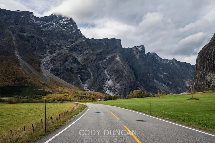 Road with mountains of Trollveggen - Troll wall in background, Møre og Romsdal, Norway