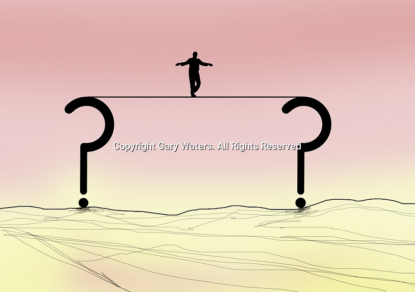 Man walking tightrope between question marks